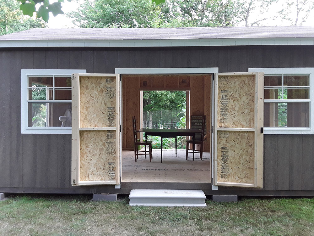 a garden shed being turned into a she shed in huntsville arkansas
