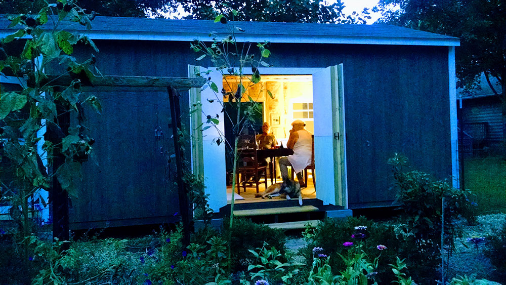 hanging out in miss she shed after dusk