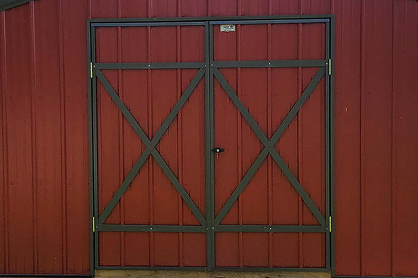 cross buck doors on metal outdoor sheds