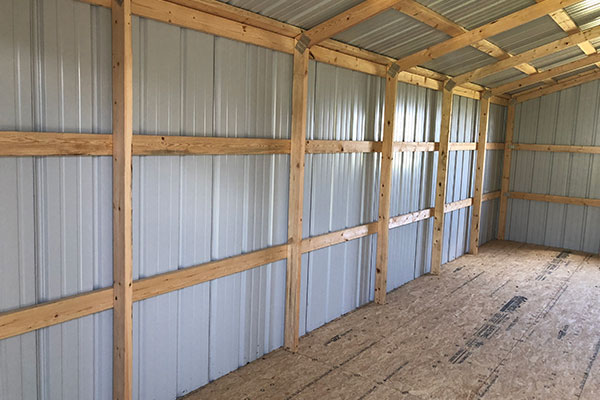 interior of metal outdoor sheds