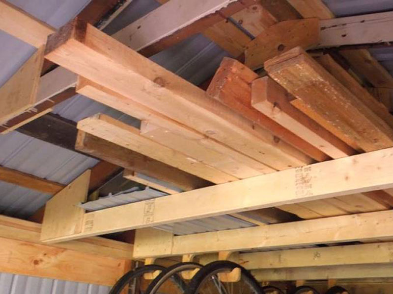 ceiling storage rack in storage sheds