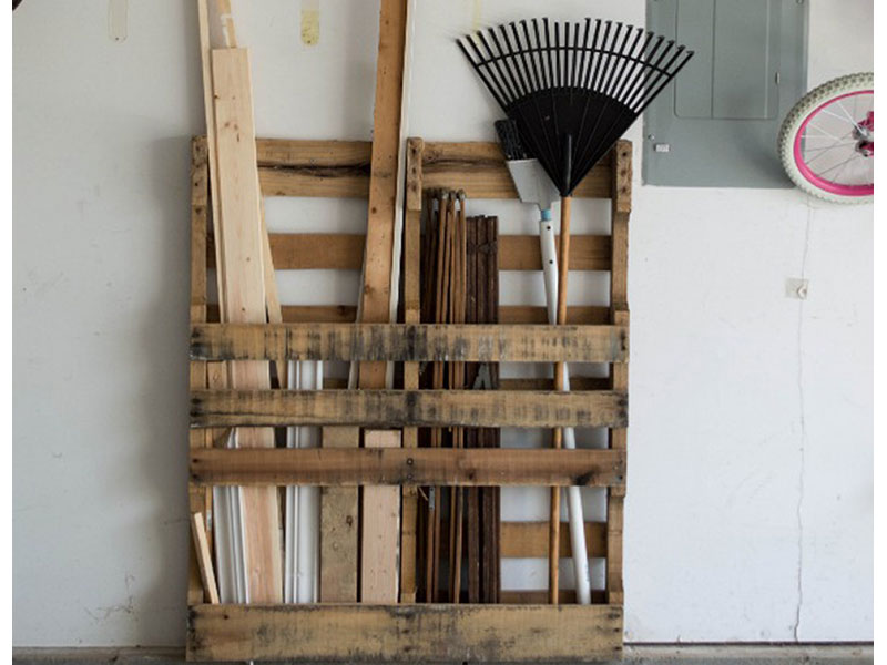 storage shed organization with a pallet