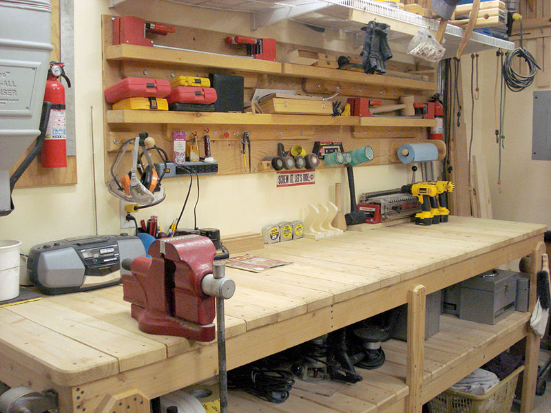 workbench for storage shed organization