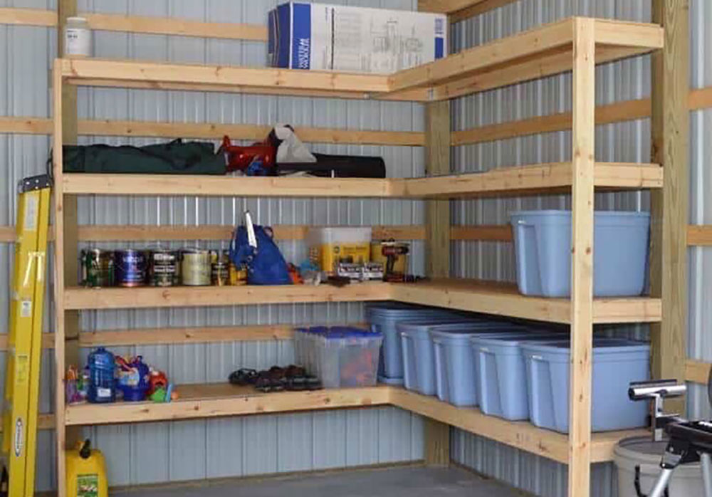 corner shelves for metal storage shed organizatiion